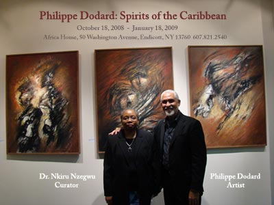 Dr. Nkiru Nzegwu and Philippe Dodard at the Opening Receptio of Philippe Dodard: Spirits of the Caribbean